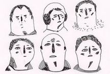 Des gens, des cinés / People, faces, bodies. Humans and characters' sketches.