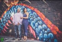 engagement photography: maya & lawrence / Maya and Lawrence are from Atlanta, getting hitched in Los Angeles. We started off in the Art District in Downtown LA, stopping in front of our favorite brick wall and lots of rad murals. We went to the classic 4th Street Bridge, and then ended the shoot at the iconic Chris Burden light sculpture, Urban Lights, at the Los Angeles County Museum of Art.