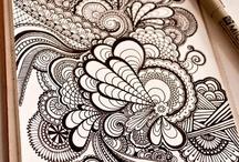 Zentangle / Random and repeating designs = zentangle, zendoodle, whatever you call it, it is FUN!