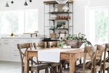 Dining Rooms / Modern farmhouse dining room inspiration.  Find out how the best bloggers decorate their farmhouse dining rooms.  DIY projects, chairs, tables, buffets, holiday style and more!