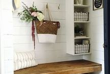 Mudrooms / Modern farmhouse mudroom inspiration.  Find out how to decorate your entryway in a stylish way.  DIY projects, benches, storage, decor, and more!