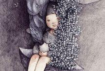 Illustrazioni in viola / Dipinti, illustrazioni nei toni della lavanda