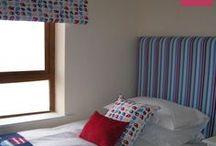 Kids Bedroom Fun / Fun fabrics, curtains, duvets, bean bags, soft furnishing ideas, cushions.