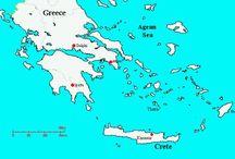 GRIEKENLAND /  minoische 2500 v.C tot 1300 v.C / MINOISCHE CULTUUR. Eerste grote beschaving in Europa op Kreta ca 2500 v.Ch.tot 1300v.Ch Bekend geworden om de legende van het labyrint, fresco's en paleizen . Santorini AKrotiri.