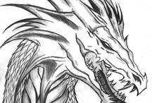 Arts - Dragons / Les garçons aiment les dragons !  Il est important de présenter les éléments en arts comme la répétition en se servant d'un sujet qui est fort intéressant pour les garçons.