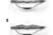 Arts - Bouche / Voici différents exemples de bouches.  La largeur de la bouche se retrouve en plein milieu de chaque œil.  Regardez au placement de la bouche par rapport aux dimensions du visage.
