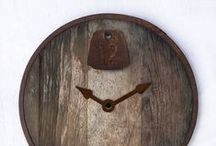 Our Designs - Quirky Clocks / Reclaimed vintage clock faces, outfitted with hand-welded steel frames, antique tin ceiling tiles or old farm hardware by designer Stephanie Reppas.