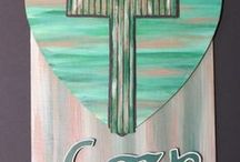 VIC'SART /  Wood Crosses/Painted Crosses on Canvas