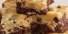 Brookies : cookies et brownies / Dans ce tableau il y a : - des brownies - des cookies  et des brookies le mélange des deux !!!