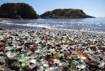 Glass beach in California , USA