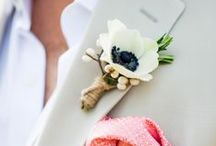 boutonnieres / flower and feathers and burlap...oh my!