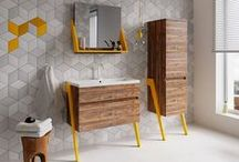 60s RETRO BATHROOM STYLE WE LOVE / Bathroom retro furniture - simple, well designed, in warm colour of wood. Plus geometric tiles, bright colours of accessories nad lots of green.  This is style we love.