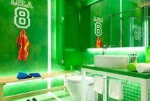Piłkarska łazienka | Football bathroom / Football rules the World, especially during EURO. See football themes bathrooms gathered just for this ocasions!  Piłka nożna rządzi śwwiatem! Zwłaszcza podczass trwania EURO.. Zobacz łazienki utrzymane w piłkarskim stylu, zebrane z okazji EURO!