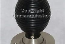 Wooden Door Knob Sets / Top quality range of wooden door knobs. Available in a range of finishes, beech, shisham brown, ebony black, varnished, mahogany. Traditional round door knobs, beehive door knobs and cottage style. Check out our online store at www.theceramicstore.co.uk for our full range with excellent prices.