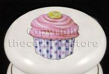 Cupcake Ceramic Kitchen Cabinet Door Furniture Knobs / Our ceramic kitchen knobs with cupcake designs are very popular. The knobs are handpainted with a gold ring around the base and kiln fired at very high temperatures for a hardwearing finish. Prices from only £1.79 each and quality is excellent. Check out our cupcake designs at our online store www.theceramicstore.co.uk