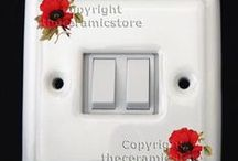 Porcelain Electrical Light Switches & Dimmers / Beautiful porcelain electrical light switches. Available in single or double rocker. Also dimmer switch. Hand decorated and kiln fired. Can be supplied with any of our patterns to match the door knobs. Check out our online shop www.theceramicstore.co.uk stunning quality at excellent prices.
