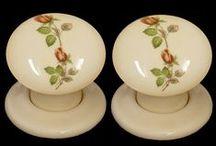 Cream Patterned Ceramic Door Knobs / Stunning cream ceramic door knobs hand decorated in the UK by our experienced craftsmen