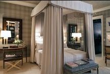 David Phoenix Goes Greige / The Grey Bedroom of the New York Kips Bay Decorator Show House 2015 by Los Angeles-based designer David Phoenix features a greige tartan, canopy bed, and metallic wall papered ceiling.  #interiors #InteriorDesign #DavidPhoenix #KipsBayDecoratorShowHouse2015  More at: http://designlifenetwork.com/kips-turns-100/