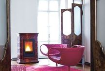 Pink wood pellet Stoves and interior design inspiration / Pictures of pink wood pellet stoves.  Pictures of wood pellet stoves that compliment pink as an interior design colour.