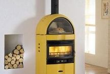 Yellow Wood Burning Stoves and Interior Design Inspiration / Pictures of Yellow wood Burning stoves. Pictures of wood Burning stoves that compliment White as an interior design colour.