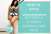Style your swimwear - Butterfly Flouncy Bandeau One Piece Swimwear - Curvy Swimwear / Our followers have asked about how to style their swimwear - which jewellery and accessories work best and what matches.   Our Butterfly Flouncy Bandeau One Piece Swimsuit can also be worn as a standalone top and it is this versatility that has got people talking. Its quality Italian fabrics and unique butterfly wing inspired print creates a stylish piece for your summer wardrobe. If you want to collaborate on this board, please let us know.  Curvy Swimwear