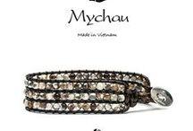 Mychau - Bracciale Cao Bang / Bracciali multifilo, con 3 fili in corda, impreziosito da diverse pietre vivaci. Realizzati secondo antiche tradizioni e con pietre naturali. Chiusura in Argento 925‰