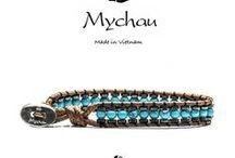 Mychau - Bracciale Yen Bai / Bracciale originale ad 1 giro realizzato con ematite e pietre naturali. Intreccio in corda e chiusura in Argento 925‰.