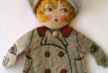 Old, folk, hand-made and primitive dolls