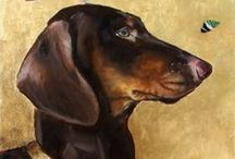 Doxies in Art / Dachshunds in any art and print - magazine covers, greeting cards and posters.