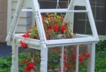 Plant pots and container ideas / Ideas for potting plants, using various containers and trellises for flowers