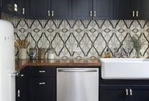 Terracotta Kitchen Tiles / Hand painted terracotta tile for luxury kitchen remodels and custom backsplash projects. Inspired by Moroccan, Moorish, and Tunisian terra cotta tile designs.
