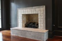 Fireplace Surround Terra-cotta Tiles / Hand painted terracotta tile for luxury fireplace remodels and custom backsplash projects. Inspired by Moroccan, Moorish, and Tunisian terra cotta tile designs.