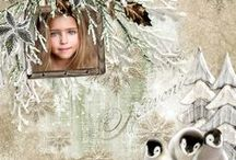 """Winter Rustle"" layouts / http://www.oscraps.com/shop/Winter-Rustle-Collection.html"