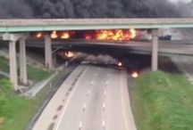 I-81/US 22/US 322 Interchange Fire / A tanker hauling diesel fuel flipped over and caught fire on the I-81 northbound to US 22/US 322 westbound ramp on May 9, 2013.