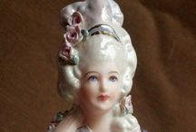 Porcelain half doll pincushion~dresser dolls