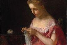 Fiber Art Meets Fine Art / Fine art pieces that feature fiber art (lacemaking, knitting, sewing, weaving) as the subject.