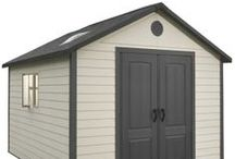 6415 11 X 13.5 Foot Outdoor Storage Shed / Lifetime sheds provide you an excellent yard storage solution that will last for years to come. This shed uses a panelling design to assemble the shed; adjacent panels interlock and fasten together. The shed is then reinforced on the inside of the shed with powder-coated steel. The shed doors have a built-in padlock (actual lock not included). These sheds come with a 10-year factory warranty from Lifetime Products.
