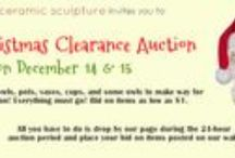 Christmas Clearance Auction 2013 / We're making way for our 2014 collection by auctioning off pots, vases, plates, cups, bowls, and more from our 2013 collection. Drop by our page on December 14, 2013 starting around 9AM and bid on the items. Auction ends at 9AM the next day.