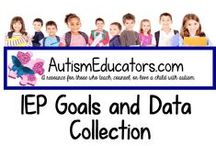 IEP Goals and Data Collection / Find FREE IEP goals to help your students progress with academics, social/emotional behaviors, independent functioning, and communication needs.  Do you need help writing a goal or finding products to help with mastery?  Visit http://www.AutismEducators.com to see our FREE IEP Goal Bank and unique activities to help your students succeed!