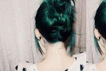 G R E E N   H A I R. / Muitas inspirações de cabelo verde, menta...