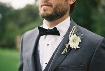 Wedding - Groom & Groom's boutonniere / Boutonniere, bow, tie, suit, tuxedo.  / by Emerald Scarf