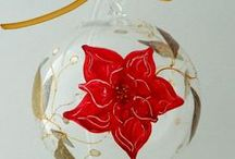 Christmas Bloom / Christmas decorations, handpainted on glass.