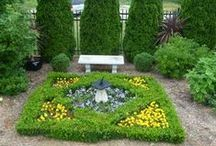 Yard ~ Knot Garden / The Herb Knot Garden is the centerpiece of the Tennis Deck area.