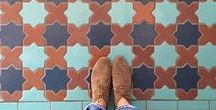 Tiled Rugs / Use our handpainted tiles, shapes or a pattern to create a tiled rug in your space.  They look great just about anywhere: bathrooms, entry ways, hallways, kitchens, mudrooms, dining rooms...