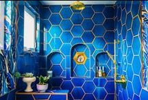 Bold Bathroom Tile / Whether they're filled with big swaths of color, large-scale patterns, and imaginative shapes, bathrooms are the perfect place to rethink tile. We're sharing some favorites here.