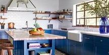 Colorful Cabinets + Tile Combos / We love to indulge in the kitchen. And color is no exception. Today, we're highlighting some of our favorite colorful cabinet and tile combinations, meant to satisfy your appetite for palettes bold and bright