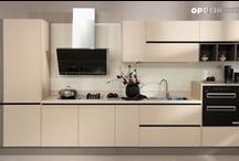 2014 OPPEIN Gold Melamine Kitchen Cabinet New Design Cabinets
