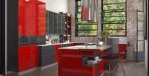 Industrial Home Design / 2017 new kitchen design with industrial elements is released. The red color has an strong influence on visual around the old house.