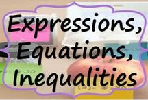 Expressions, Equations & Inequalities - Common Core / This board includes teaching resources (lesson plans, projects, task cards, graphic organizers, error analysis, anchor charts) for expressions, equations and inequalities.  www.ExceedingTheCORE.com