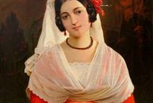 Peasant girls, maids, 19th c. art / Peasant girls, maids in 19th century paintings